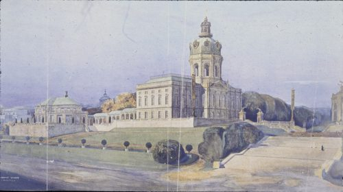 August Unger, Deutsches Haus auf der Weltausstellung in St. Louis 1904, Graphik, F0035843 , Copyright: SPSG
